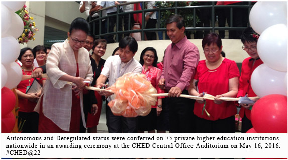 CHED@22: SUSTAINING AND ADVANCING THE GAINS Excellent HEIs and academic programs recognized